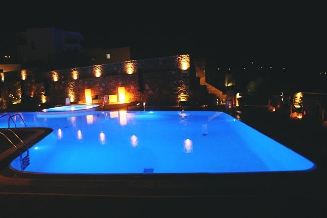 Liostasi hotel & spa pool at night.Best hotels in Ios.Luxury hotels in Ios.Where to stay in Ios.Luksuzni hoteli na Ios ostrvu.