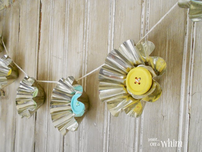Jello Mold Spring Daisy Garland with Painted Wooden Button Centers | Denise on a Whim