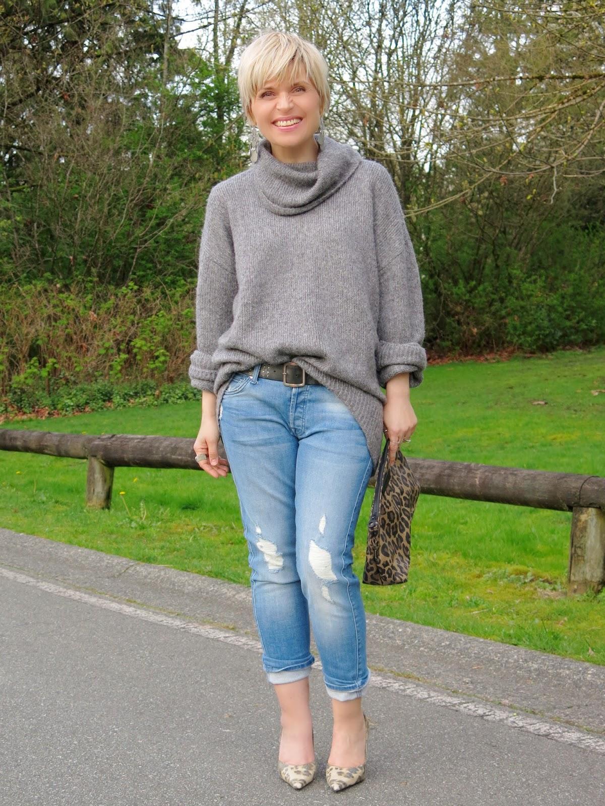 Grey matter: Boyfriend jeans and an oversized sweater ...