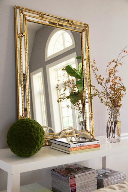 vignette styling consile table oversized gold mirror