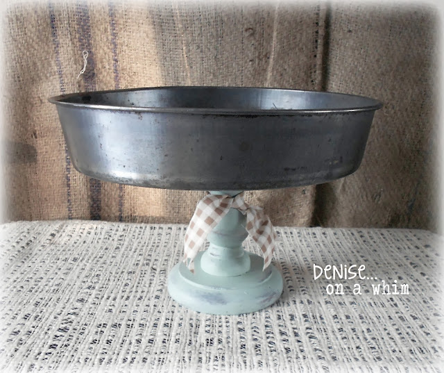 Pedestal Stand from a Cake Pan and Candlestick via http://deniseonawhim.blogspot.com