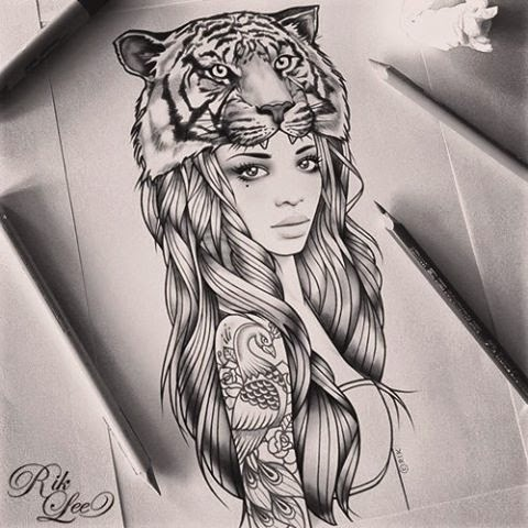 ♥ ♫ ♥ Rik lee. I Love that she has a tattoo. Instead of the tigers head, maybe an elephant? I like it. ♥ ♫ ♥