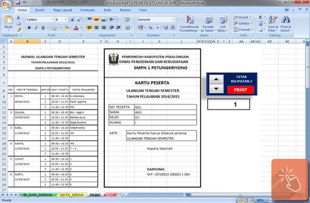 Aplikasi Kartu Peserta Ulangan Ujian UTS SMP dengan Microsoft Excel