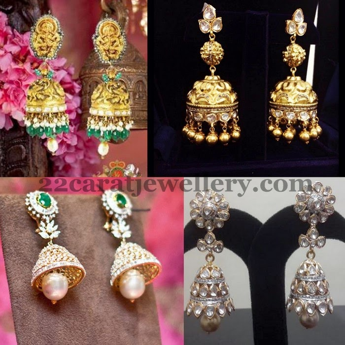 Antique and Diamond Jhumkas
