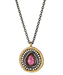 Tourmaline Disc Pendant Necklace