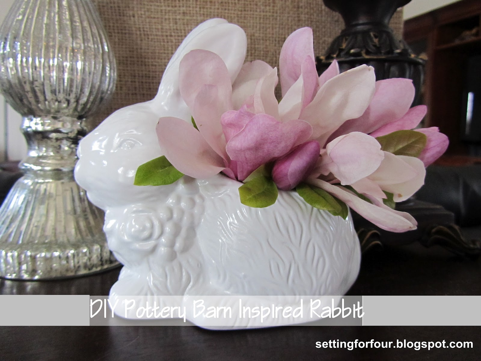 Easy diy pottery barn inspired rabbit setting for four diy pottery barn knock off easter rabbit tutorial bring pb style to your home decor reviewsmspy
