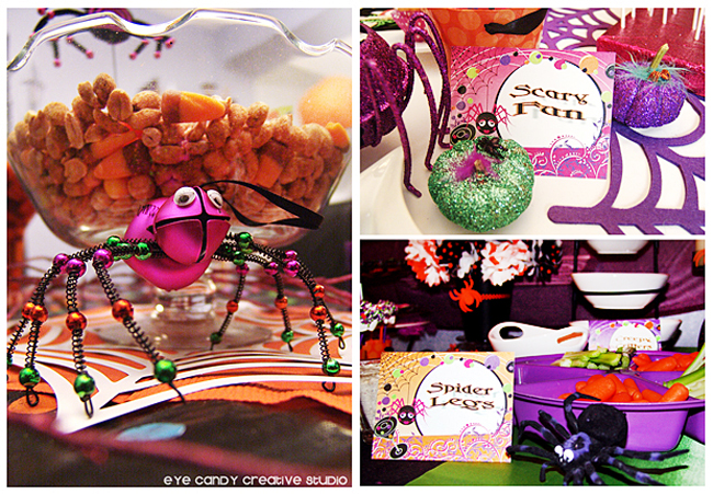 monster mash, spider legs, veggie tray, cookies, cake pops, halloween