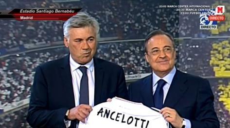 carlo ancelotti presentazione real madrid florentino perez ufficiale