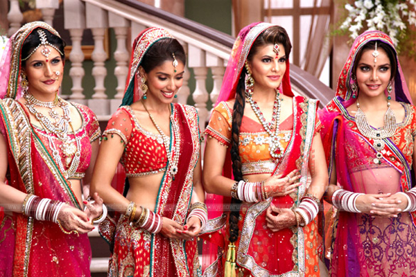 Asin , Zarine khan, Jaqueline Fernandez,  Shazahn Padamsee in Wedding Dress - Housefull 2 Wedding Dress Still