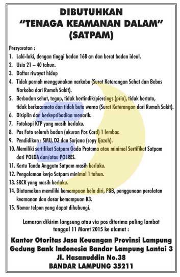 Lowongan Kerja Otoritas Jasa Keuangan (OJK) Lampung