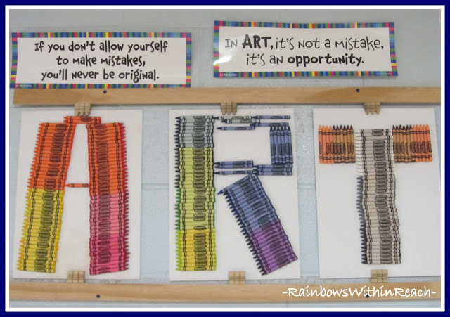 photo of: Art Room Bulletin Board Made of Crayons (Art Room RoundUP via RainbowsWithinReach)