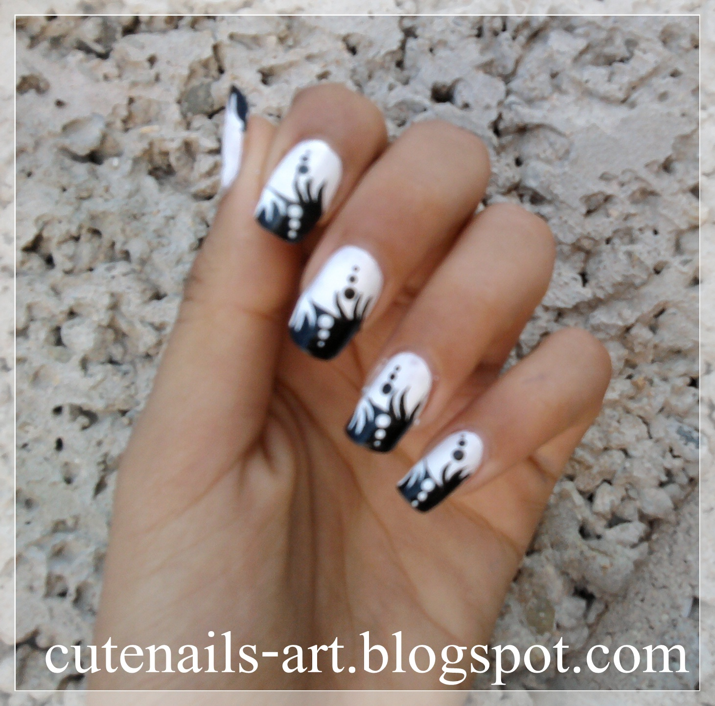 Cutenails Art Abstract Black And White Nail Art