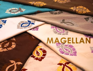 Wesco Fabrics, Magellan, embroidered medallion, indigo, orchid