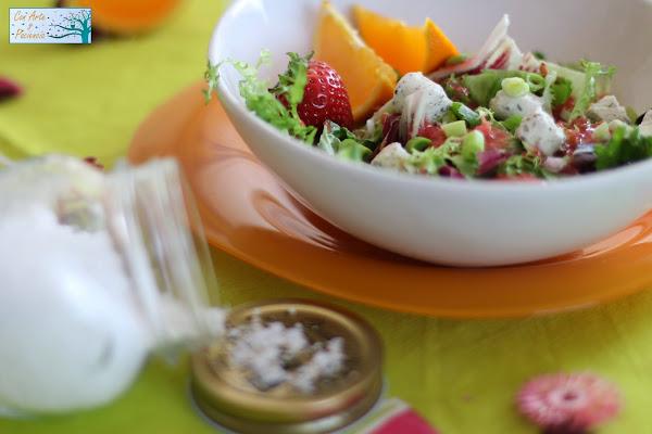 ensalada,primavera,fresas,fresa,naranja,ajos,tiernos,ensaladas,tiempo,radicchio,lisa,rizada,loyo,queso,mermelada,gajos,receta,facil,natural,sana