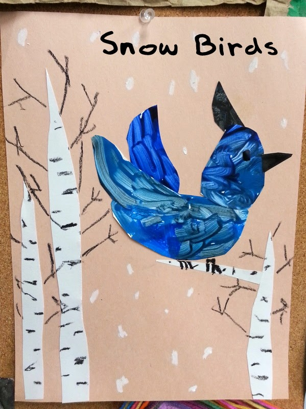 winter crafts for kids, steller's jay crafts for kids, aspen crafts for kids