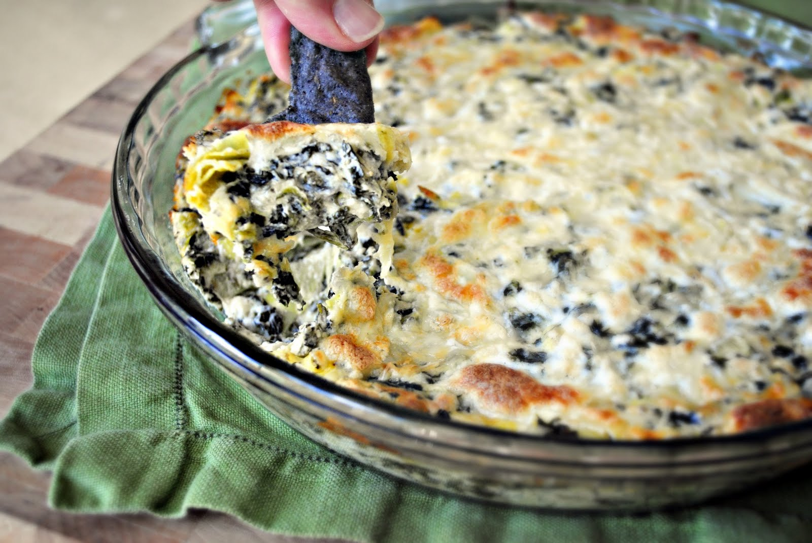 Simply Scratch Baked Four Cheese Spinach Artichoke Dip