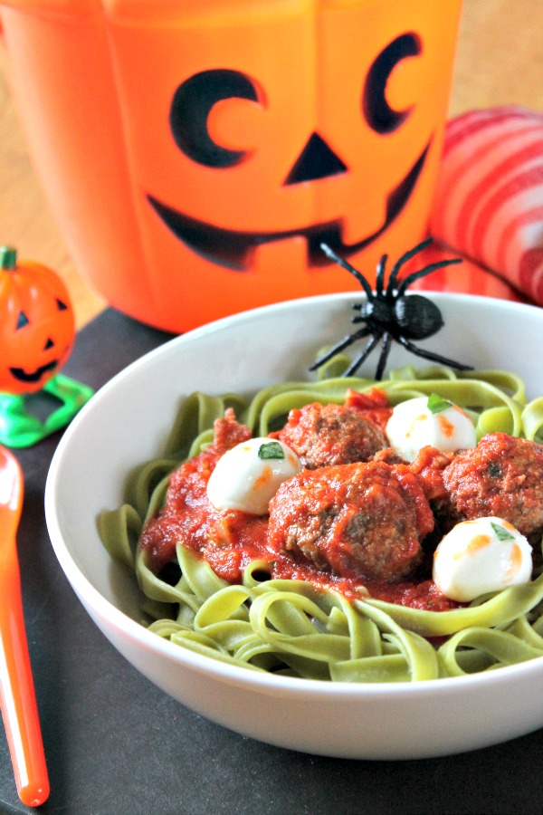 Ghoulish Eyeball Pasta with Blood Sauce