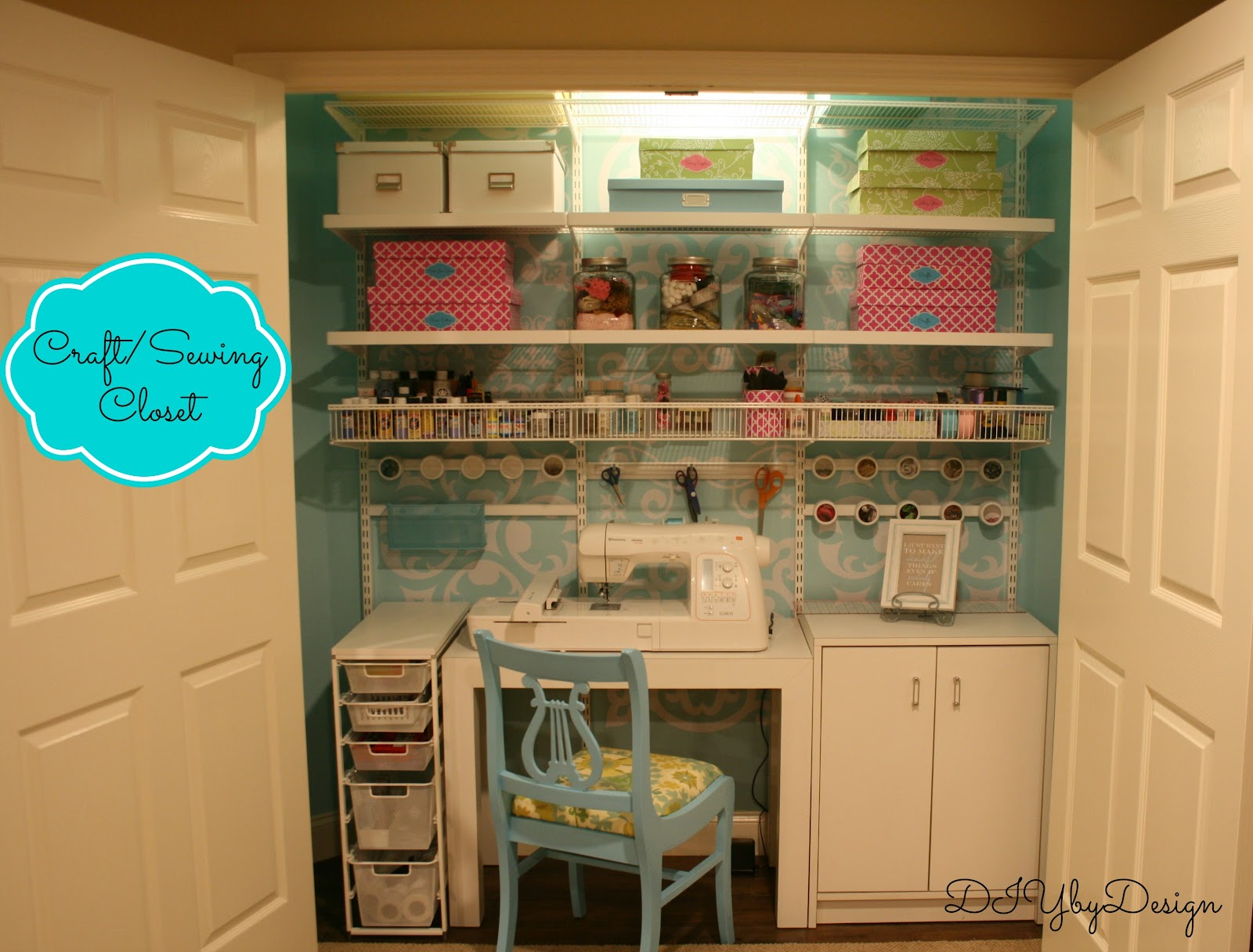 Diy by design craft sewing closet reveal Sewing room ideas for small spaces