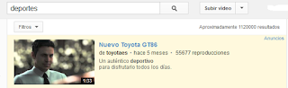 Imagen Anuncio de Toyota True View en Búsqueda de AdWords en YouTube