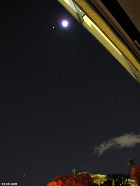 Conjunción Júpiter Luna, desde Barcelona