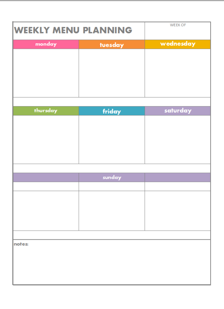 Download the colour coded weekly menu planning page with blank spaces