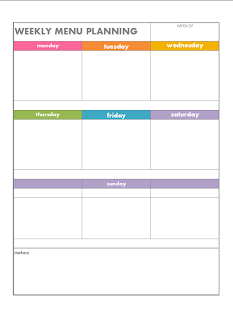 Color coded weekly menu planning page free printable