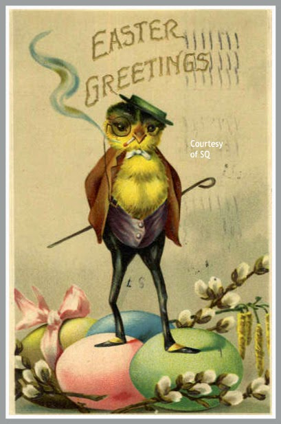 Leave It To SuzeeQ Have Found Not One But TWO Of This Amazing Vintage Easter Card With A Very Dapper Smoking Chick Some People All The Luck