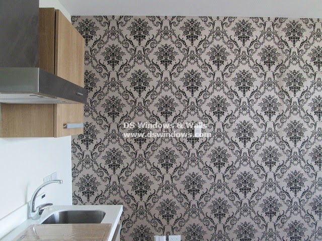 Blinds Damask Design Vinyl Wallpaper for Accent Wall in Ermita