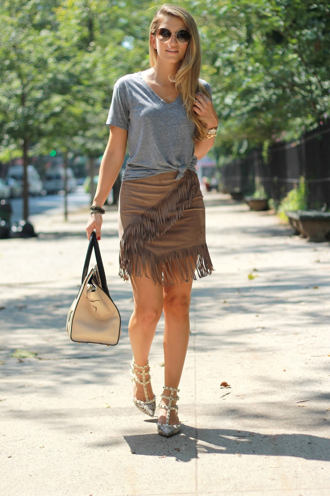 dressed for dreams, fringe skirt outfit ideas