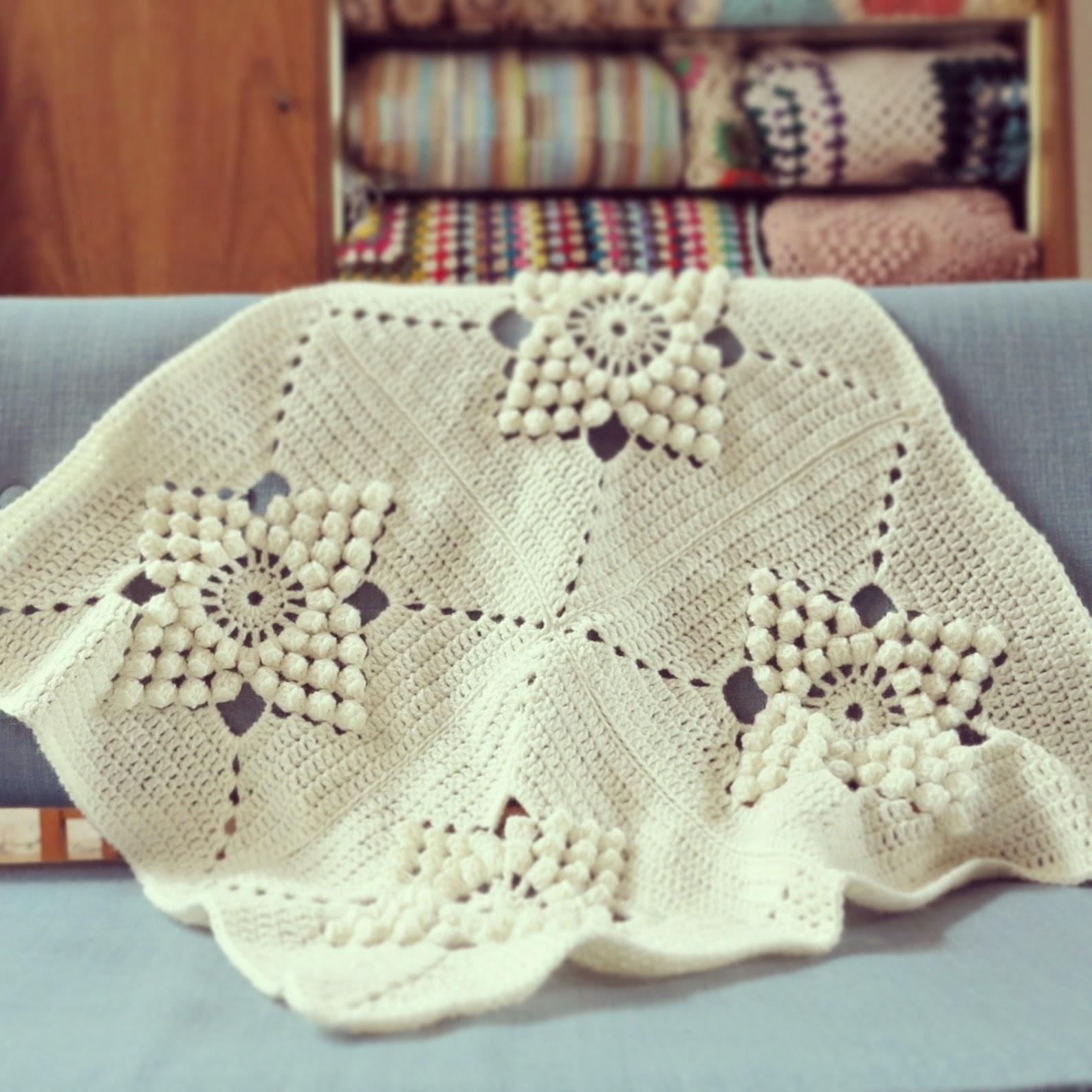 ByHaafner, crochet, vintage pattern, popcorn stitch, crochet blanket