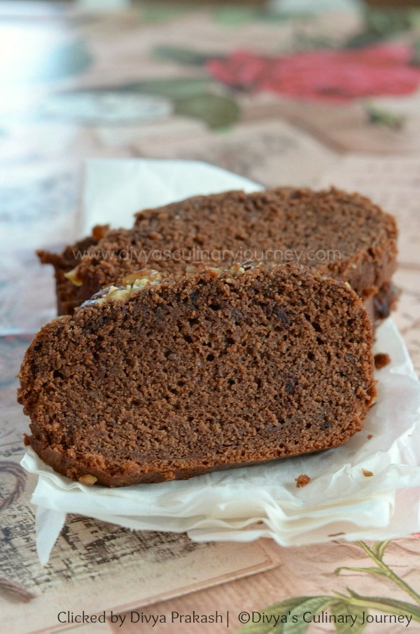 Banana Bread made with cocoa powder and does not need eggs