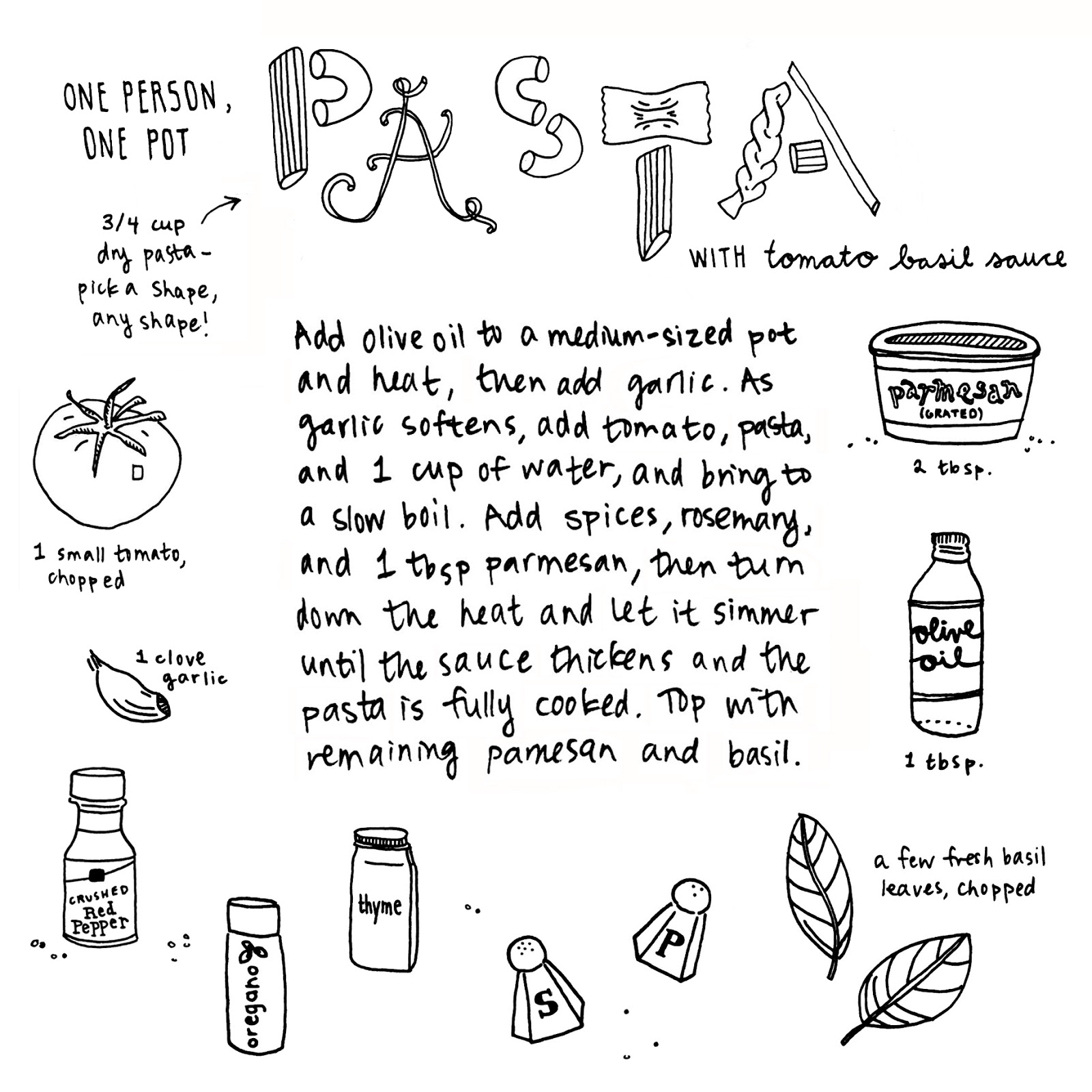 one pot pasta || hand-drawn recipe at pantopaper.com