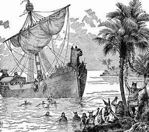 viking ship woodblock