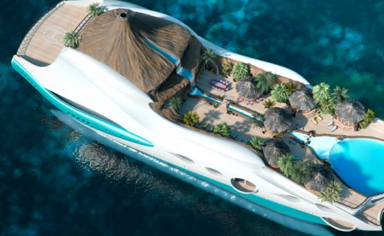 Tropical island paradise superyacht bellisima for Private swimming pools long island