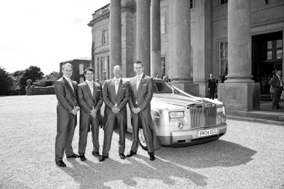 Grooms party next to Rolls Royce