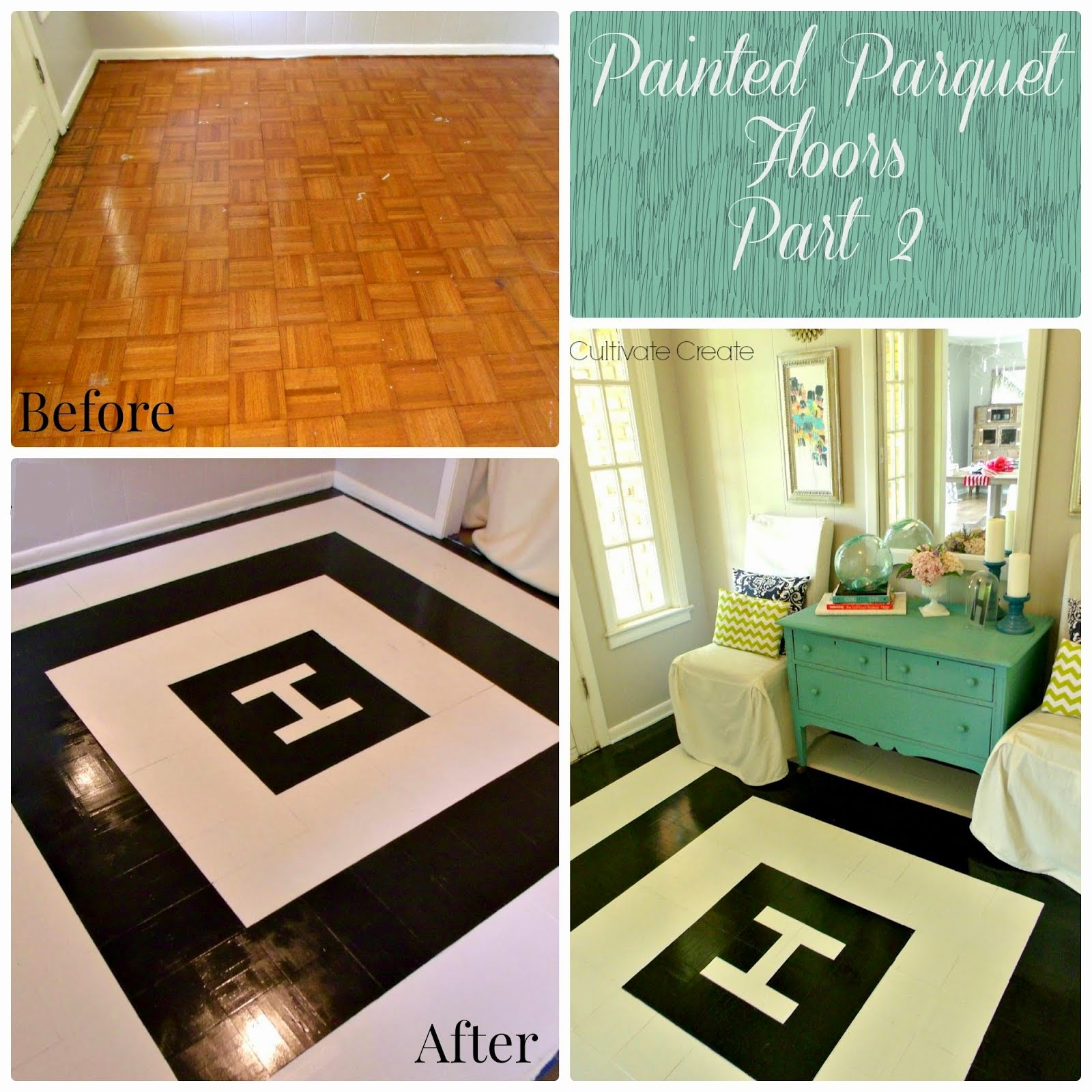 DIY Painted Parquet Floor