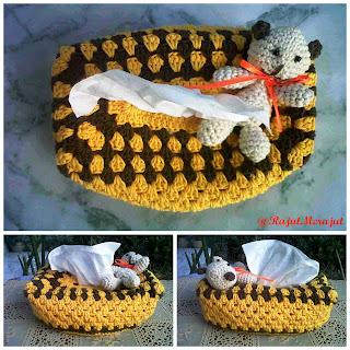 Crochet Tissue Cover Box, tempat tissue rajut
