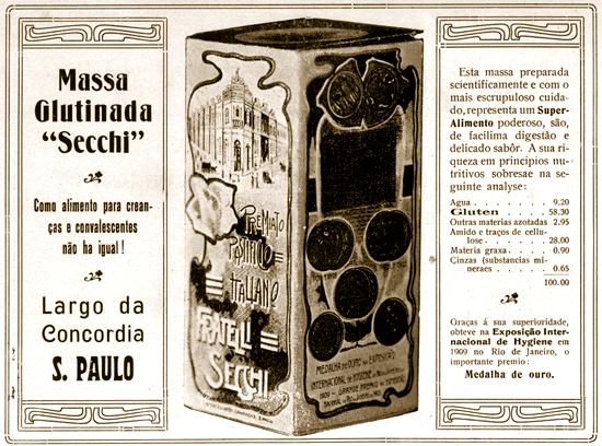 Propaganda da Massa Glutinada Secchi em 1910.