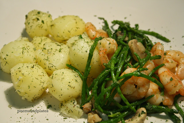 Prawn and Mushroom Salad with Samphire and Baby Dill Potatoes