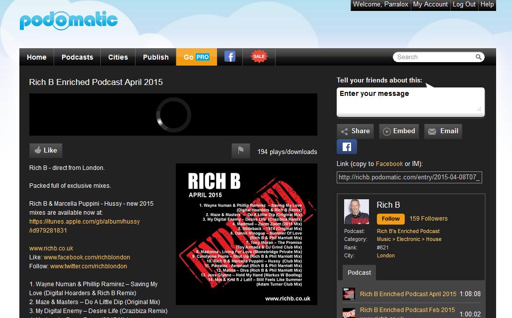 Rich B (UK) Podcasts the Aeronaut (Rich B & Phil Marriott) Remix