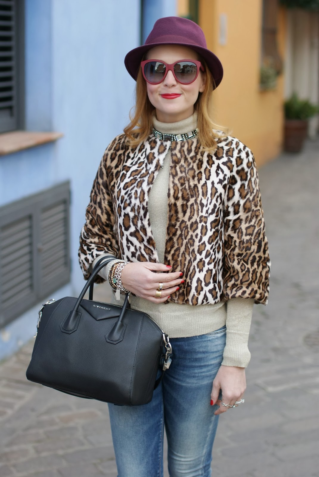 spice it up with leopard print, short leopard print furry jacket, Givenchy Antigona, Fashion and Cookies, fashion blogger