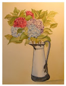 Old Enamel Watering Can with Hydrangeas