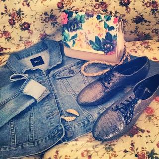 sportsgirl, denim jacket, floral bag, colette, brogues, shiny, novo, leaf clips, equip