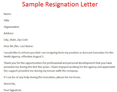 Formal Resignation Letter Sample Singapore Resignation .
