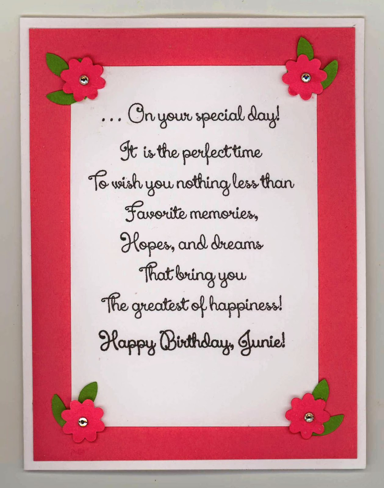 chatterbox creations birthday card for cousin junie recipe stampin up cardstocks whisper white melon mambo gumball green su stamps flower shop su ink primrose petals su modern mosac ef