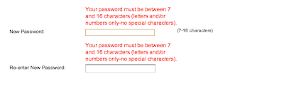 A screen showing feedback for a strong password that the system won't accept