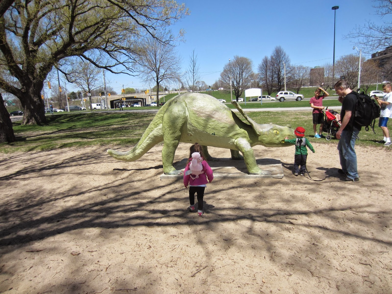 Marilyn Bell Park, Marilyn Bell Playground equipment, Marilyn Bell Dinosaur Playground Toronto
