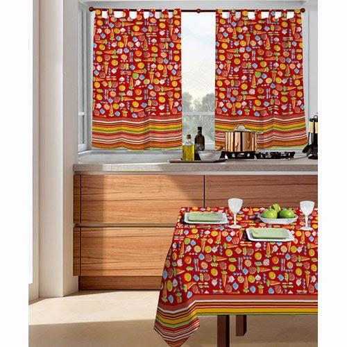 Cortinas y manteles para cocinas modelos estampados for Decoracion de cortinas para cocina