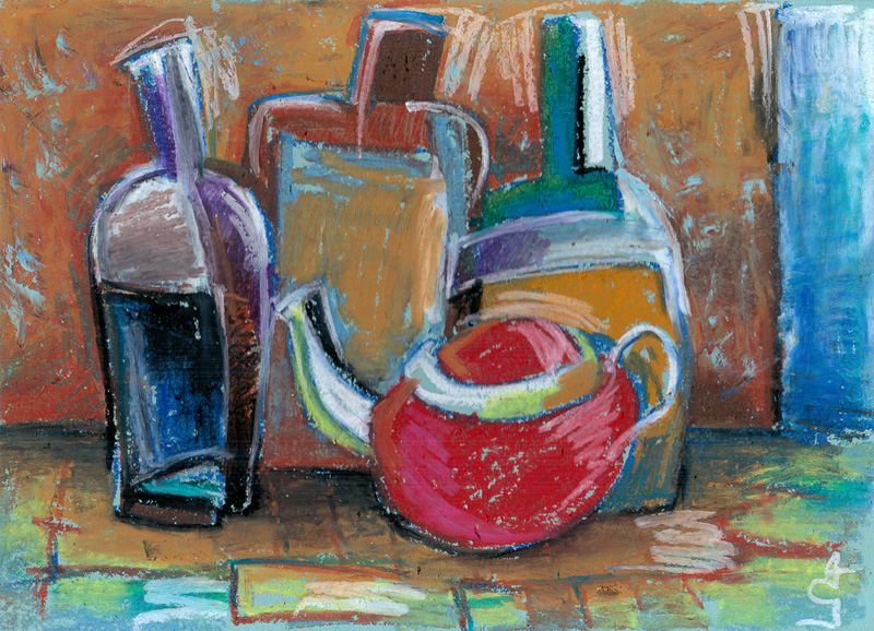 Still life with bottles and teapot by Gregory Avoyan