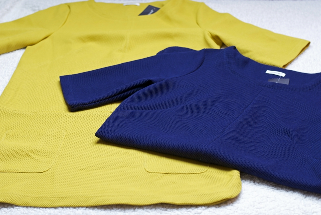 Promod fall autumn sixties dress navy blue mustard yellow